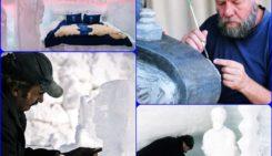inaugurarea hotelului de gheață sculpturi în gheață